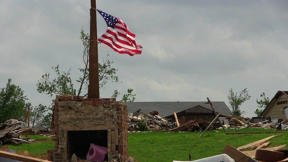 tornado damaged area